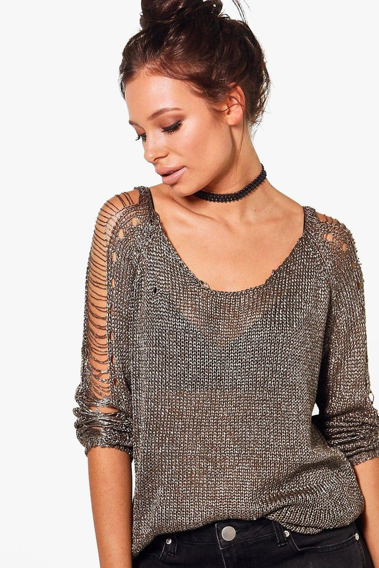 Imogen Ladder Detail Metallic Jumper - chainmail
