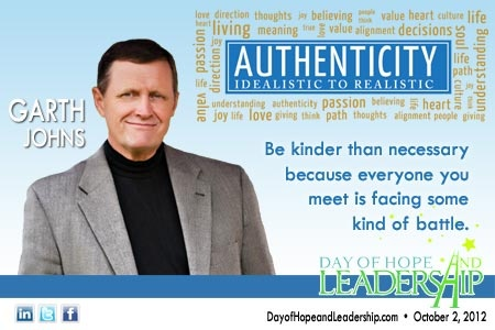 """""""Be kinder than necessary because everyone you meet is facing some kind of battle."""" Garth Johns"""