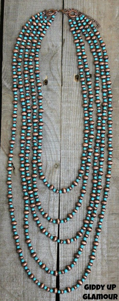 3314213eebbd 5 Strand Copper Navajo Pearl and Turquoise Necklace