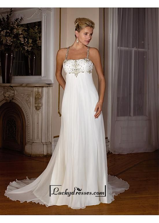 Beautiful Elegant Exquisite Chiffon Wedding Dress In Great Handwork Sale On LuckyDresses.com With Top Quality And Discount