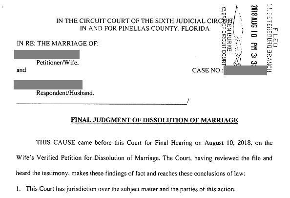 What Is The Official Date Of The Divorce At The Final Hearing Of Your Divorce The Judge Will Sign A Document Dissolution Of Marriage Divorce Pinellas County