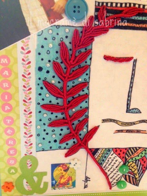 raccoglitore, collage con carta stoffa dipinta e macramè.