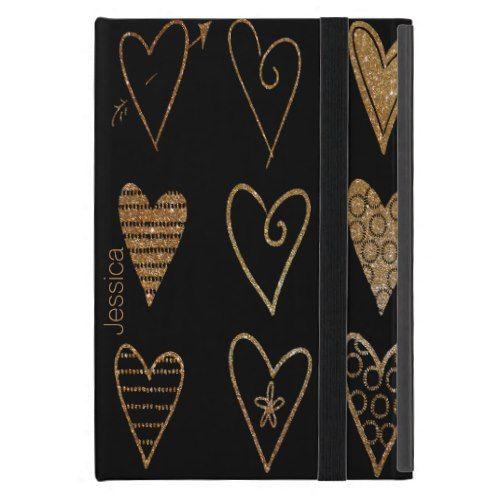 Black and Gold Hearts Custom iPad Mini Case