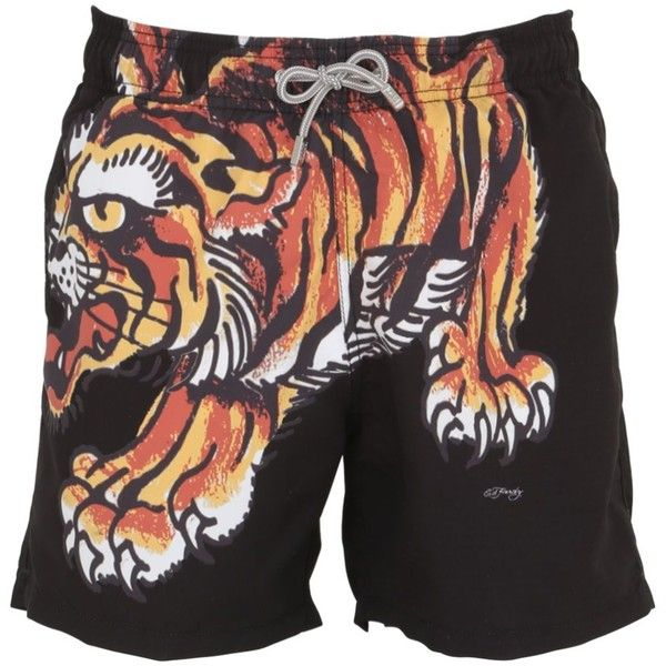 Mc2 Saint Barth Men Ed Hardy Barbados Tigerman Swim Shorts (31.235 HUF) via Polyvore featuring men's fashion, men's clothing, men's swimwear, black and swim trunks