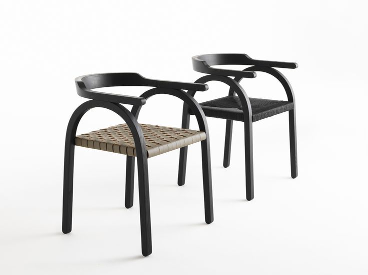 Amilcare / Design: Matteo Beraldi, 2016.  Amilcare is a contemporary chair, with Art Déco lines, which revises the concept of woven seat through a sophisticated simplification of the shape. Behind an obvious precarious balance, hides an unexpected strength, obtained by a particular technical joint, which allows the back to remain suspended on the structure, thus creating a pleasant visual contrast.