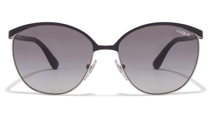 Vogue VO4010S-352/11 Black Silver Frame Grey Gradient Lens Oval Women's Sunglasses