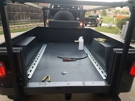 Here is a closeup of the No Weld trailer Rack Kyle put in the Dinoot Jeep Trailer he built for Chris & Tammy.