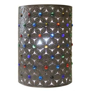 Incorporate dramatic southwestern lighting in any entry way or hall of your home with these Mexican tin wall sconces!  They feature unique stenciled designs and colorful marbles for a dramatic lighting effect and have an open top and bottom for plenty of light.  Pick up a set and complete your rustic decor!  Available in two different heights below.