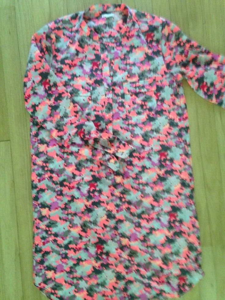 GAP Camo Pink Gray Neon Shirt Dress Button Long Sleeve Knee Length Medium  | eBay