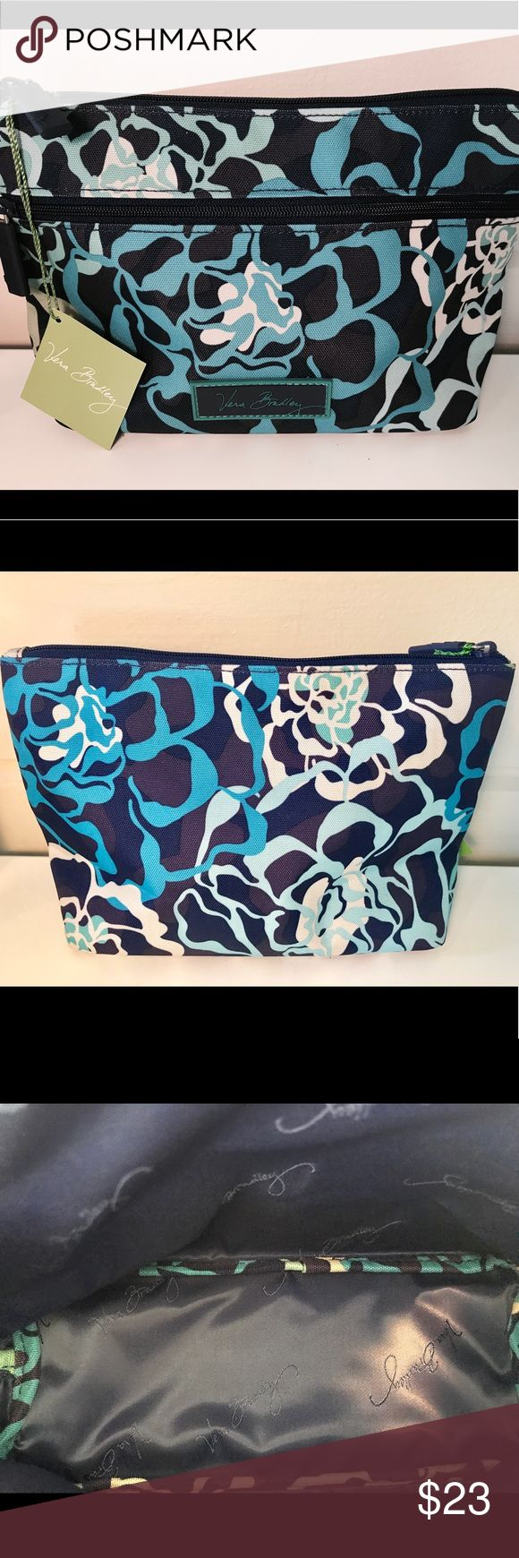 "VERA BRADLY  LIGHTEN UP TRAVEL COSMETIC BAG NWT BEAUTIFUL BLUE TONES VERA BRADLY  LIGHTEN UP TRAVEL COSMETIC BAG NWT ZIP CLOSURE AND SEPERATE ZIP POCKET 9 1/4"" W 6 1/2 H 3 1/2 D Vera Bradley Bags Cosmetic Bags & Cases"