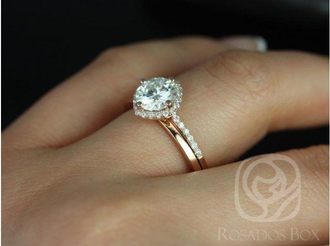 Rosados Box Kitana 7mm & Plain Barra 14kt Rose Gold Round FB Moissanite and Diamonds Cushion Halo Wedding Set
