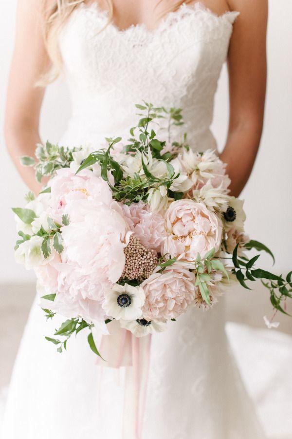Romantic blush peony bouquet: http://www.stylemepretty.com/2015/06/10/the-25-prettiest-peony-bouquets/