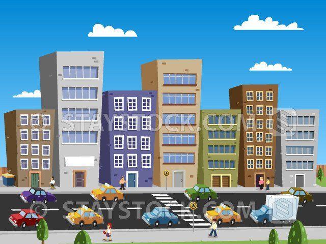 Cartoon City Scape Buildings