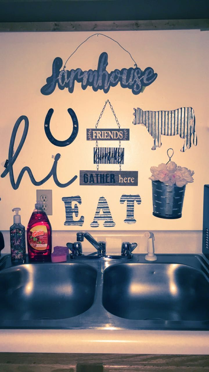 Above the sink wall decor farmhouse apartment hobbylobby