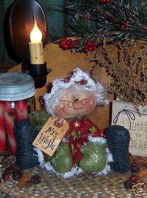 Primitivo Mrs. kringle Santa ornie Muñeca patrón # 262