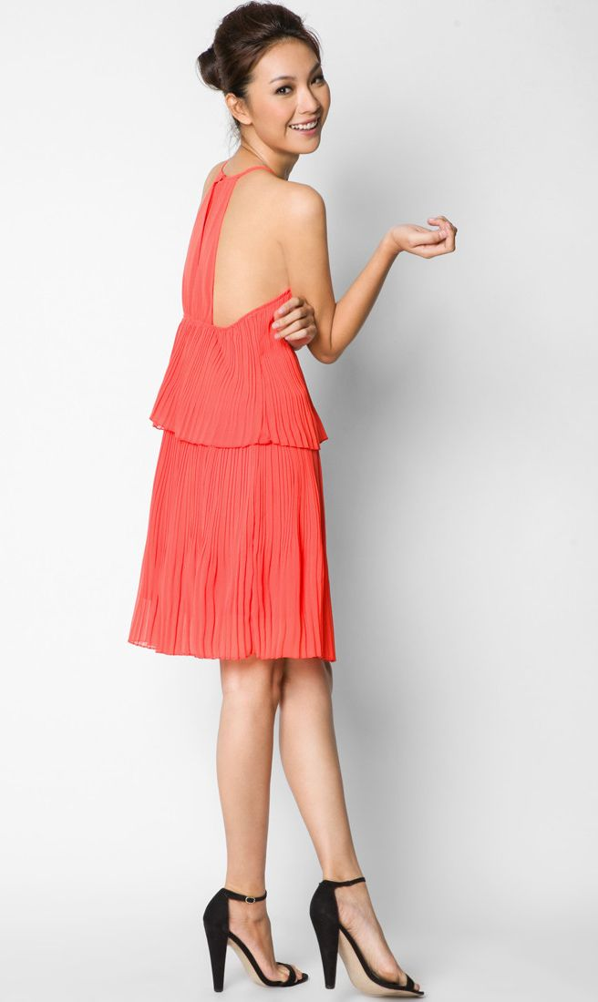 Solid Tiered Pleat Dress by EZRA. Chiffon dress with orange color, round neck, ruffle layering accent, sleeveless, back button. Cute dress for your summer outfit or casual occasions, dress that can go along with sandals and heels. http://zocko.it/LEIrf