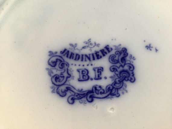 4 antique dessert plate 21 cm Boch approx. 1870 flow blue