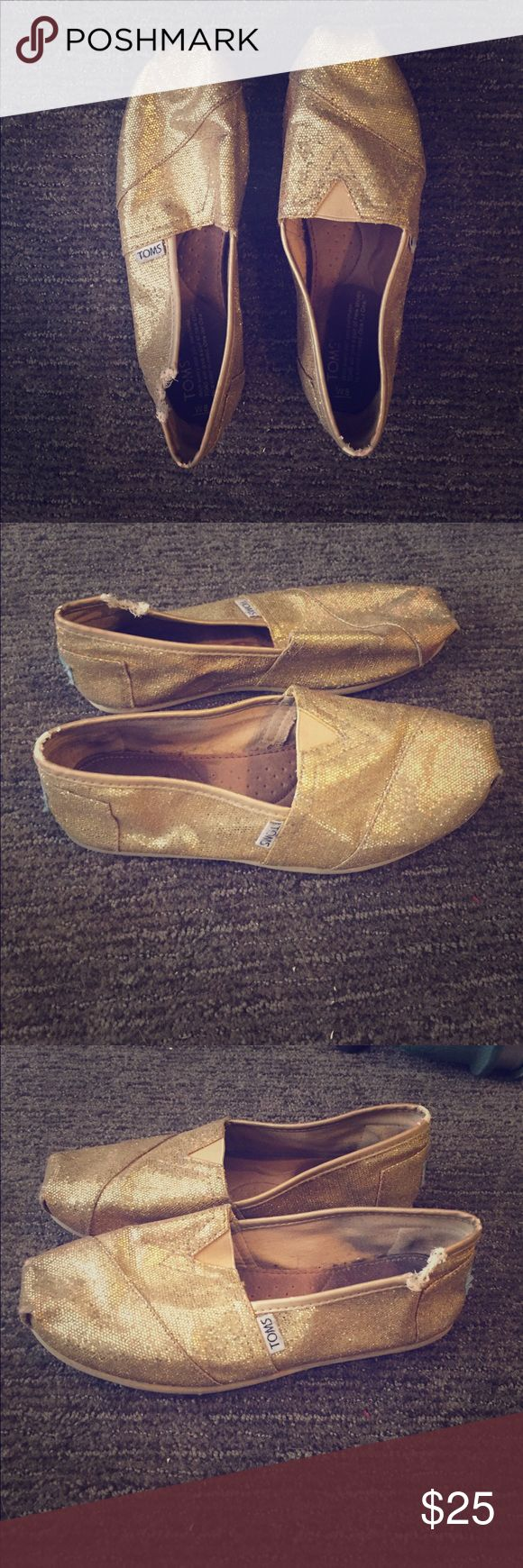 Gold glitter toms size 8 good condition w/ hole Gold glitter toms size 8 good condition w/ hole TOMS Shoes Flats & Loafers