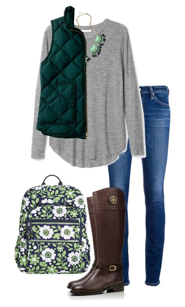 Can't wait for school by hannah-olivia-cantrell on Polyvore featuring J.Crew, AG Adriano Goldschmied, Tory Burch, Vera Bradley and Blu Bijoux