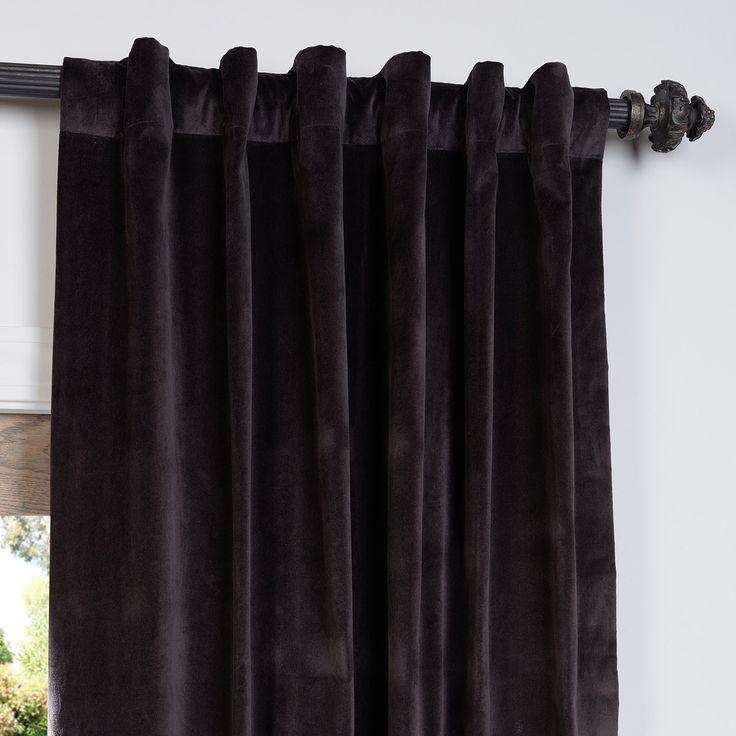 amazon: vintage cotton velvet curtain, ash brown (brown): home & kitchen | velvet curtains