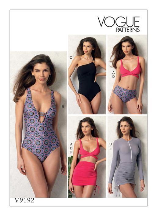 One-piece and two-piece swimsuit sewing pattern. V9192 | Vogue ...