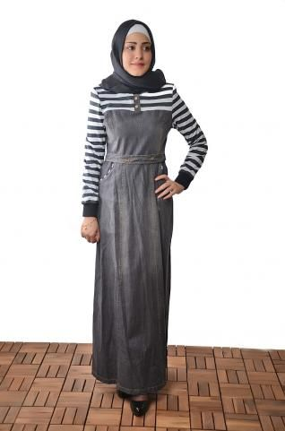 This Islamic jilbab is ideal for occasions where you want to look professional but feminine.  Description: A Islamic dress with a modern cut, it has a wide boat collar, designed with colored lines on mid which gives you a modern islamic look