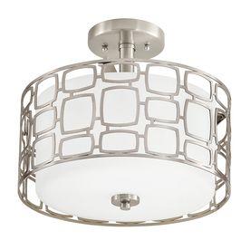 Kichler Lighting Sabine 12.99-in W Brushed Nickel Etched Glass Semi-Flush Mount Light