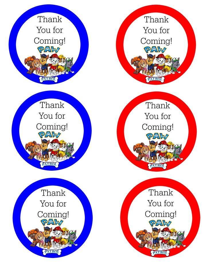 paw patrol free thank you labels