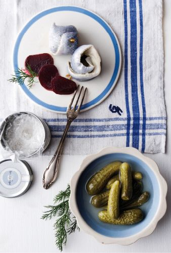 Pickled herrings, pickled beetroot, pickled gherkins - by antonios mitsopoulos