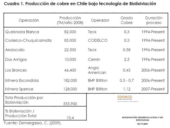Actualmente, cerca de un 12% del cobre se produce en Chile con la asistencia de microorganismos, y el gran desafío es incrementar significativamente la producción mediante este proceso con menores requerimientos de agua y de energía que los procesos convencionales de flotación/fundición.