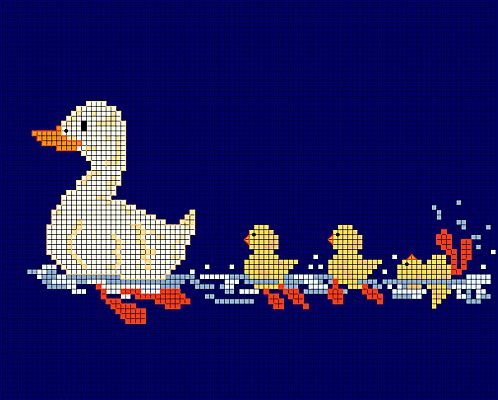 This happy little duck family will be a great stitch for spring. Stitch it on dark or light blue fabric and it will go swimmingly. Get the free chart.