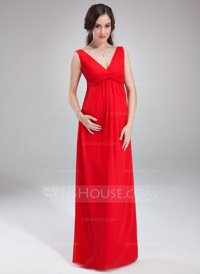 Maternity Bridesmaid Dresses - $113.99 - Empire V-neck Floor-Length Chiffon Maternity Bridesmaid Dress With Ruffle (045004386) http://jjshouse.com/Empire-V-Neck-Floor-Length-Chiffon-Maternity-Bridesmaid-Dress-With-Ruffle-045004386-g4386