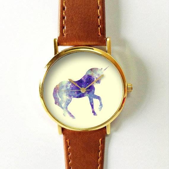 Unicorn Watch, Women Watches, Men's Watch, Vintage Style Leather Watch, Boyfriend Watch, Gold Rose Gold Silver Horn Spring,…