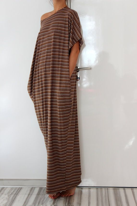 Looks like the most comfy house dress! Brown stripes Maxi oversized plus size by cherryblossomsdress
