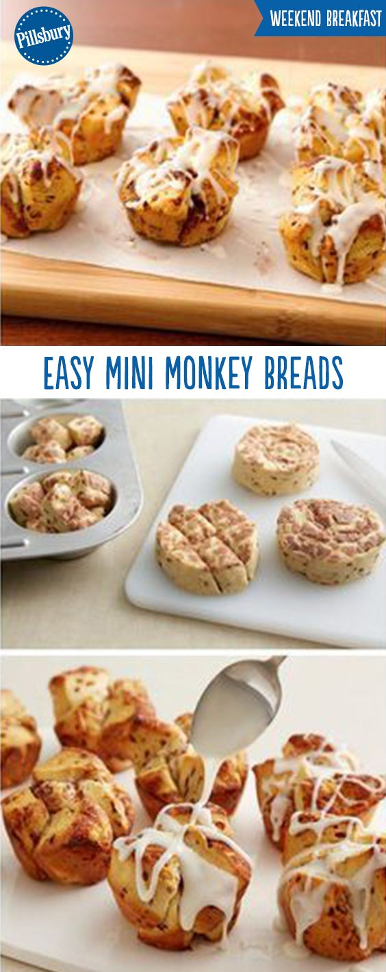 Weekend breakfast doesn't get much easier than 1-ingredient monkey breads! These Easy Mini Monkey Breads are made out of cinnamon rolls and that's it! Perfect for those hectic Thanksgiving and Christmas mornings  and they're a guaranteed crowd-pleaser with your guests and family. PS: Have you heard the good news? Pillsbury Cinnamon Rolls now have more icing (so this recipe is extra gooey and delicious)!