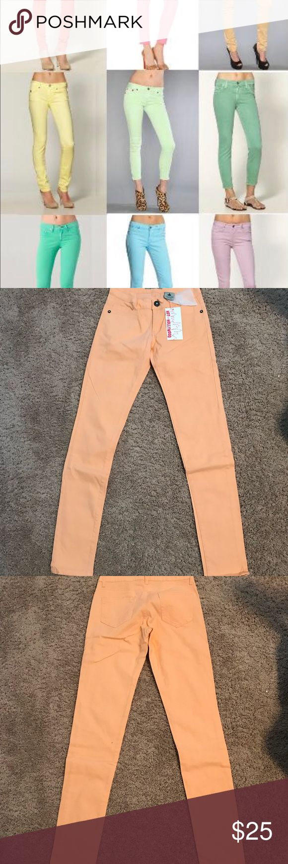 Peach Skinny Jeans Brand new with tags. Beautiful peach color. Jeans Skinny