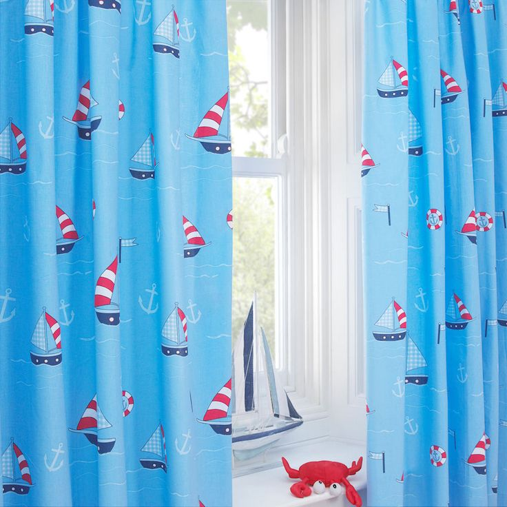 Nautical Blue Sailing Boat Anchor 66X54 Pencil Pleat Lined Curtains EXCLUSIVE