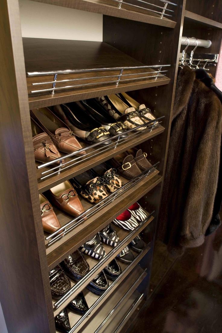 Slanted shoe shelves with chrome rails closet for Slanted shelves ikea