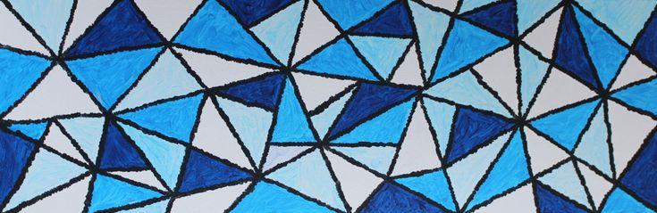 Gratitude #10 (Peinture),  12x36 in par Alma Wolf-Díaz Titre : Gratitude #10 Dimensions : 12 x 36 in; Artiste : Alma Wolf-Diaz; Dates de création : Samedi, le 9 janvier 2016 Lieu de création : Maison de mes parents à Sainte-Dorothée, QC (Canada); Matériel utilisé : peintures acryliques de marque 'Winsor & Newton' Galeria Acrylic; Couleurs utilisées : Bleu Winsor, Blanc pour Mélanges et Noir d'Ivoire. Support utilisé : Carton entoilé 12 x 36 in - Toile de Galerie Montée très Ré...