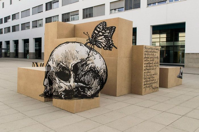 Truly Design - Vanitas - Anamorphic mural - Polytechnic Federal School of Lausanne - 2014.05.13  http://articalillusion.altervista.org/truly-design/