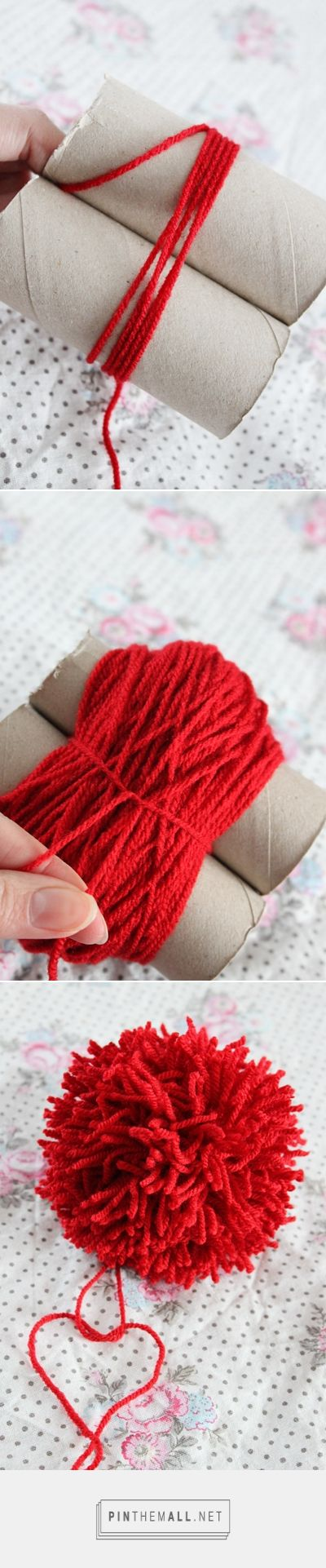 #Tutorial - How to make really big pompoms -- from a Swedish blog with pictures that need no translation. Yet another use for toilet paper rolls! ❤️ KnittingGuru -- http://www.pinterest.com/KnittingGuru