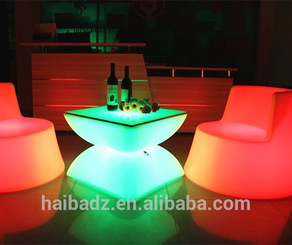 Plastic Weatherproof Party Used LED Glow Outdoor Chair Illuminated Night Club Table