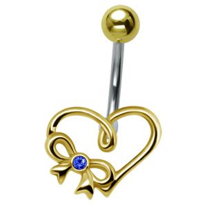 Gold-Plated Heart Belly Bar - Blue- Buy Jewellery