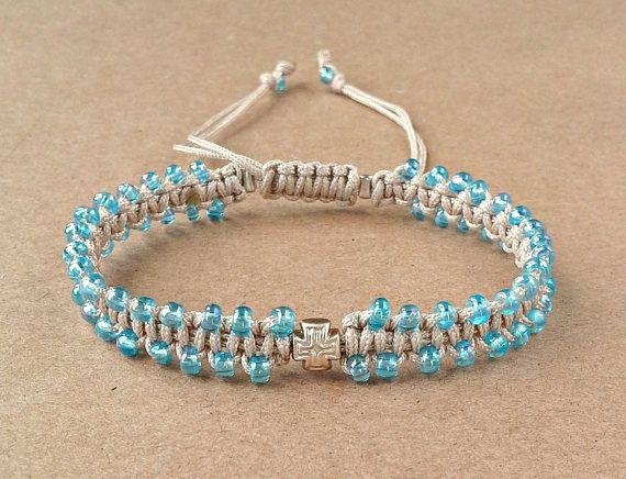 Light Blue Seed Bead Cross Bracelet Tiny Macrame Bracelet