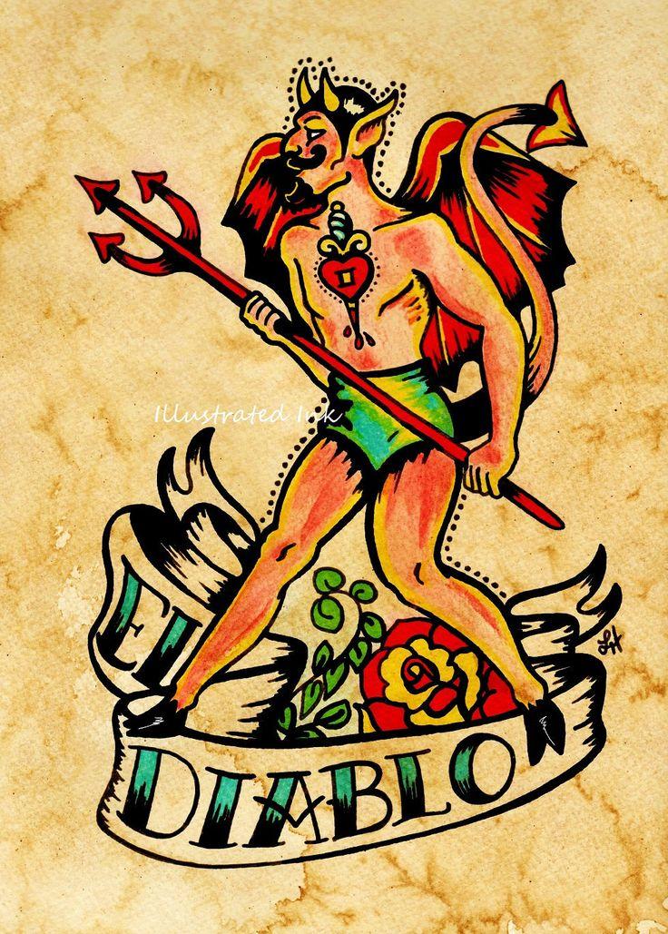 Old School Tattoo Devil Art El DIABLO Loteria Print 5 x 7. $10.50, via Etsy.