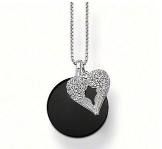 Thomas Sabo Silver Small Round Onyx Disc Necklace From Crystaljewelryuk.com