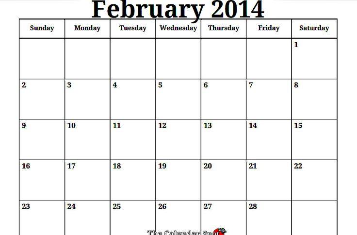 February 2014 Calendar Printable   Valentines Day! Use this Printable Blank PDF February 2014 Calendar ...