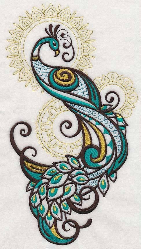 Set of two Mehndi Peacock spray gold accents embroidered fabric quilt blocks