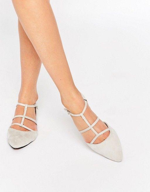 Glamorous   Glamorous Stone Suede Caged Flat Shoes