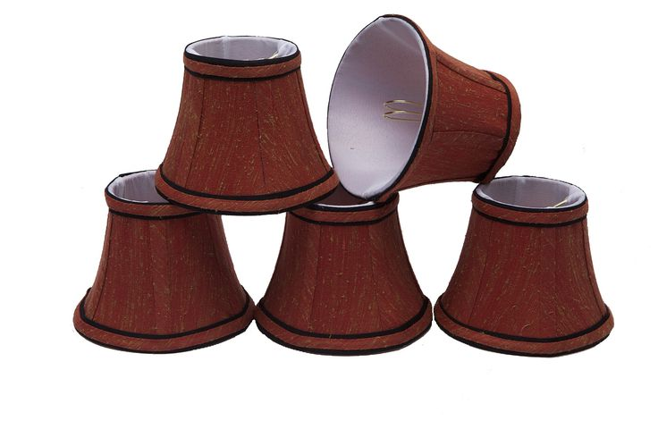 """# 30001-X Small Bell Shape Mini Chandelier Clip-On Lamp Shade, Transitional Design in Rust Colored Fabric, 5"""" bottom width (3"""" x 5"""" x 4"""") - Sold in 2, 5, 6 & 9 Packs"""